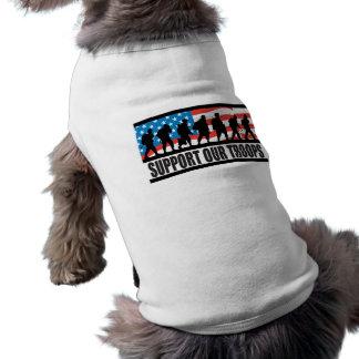 Apoye nuestra ropa del mascota de las tropas playera sin mangas para perro