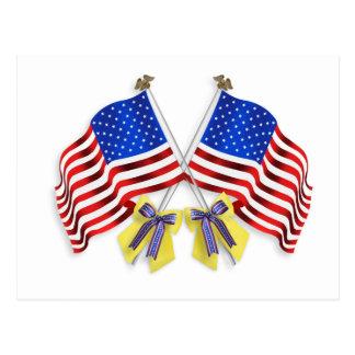 Apoye nuestras cintas y banderas amarillas de las postales