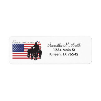 Apoye nuestras etiquetas del remite de las tropas etiquetas de remite