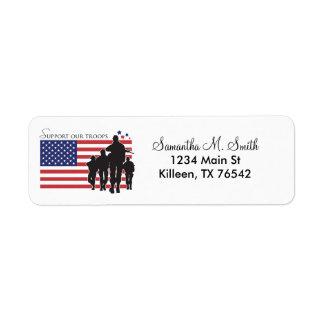 Apoye nuestras etiquetas del remite de las tropas etiqueta de remite