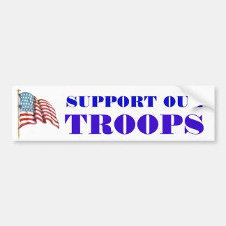 Apoye nuestras tropas que redactan y la bandera am pegatina para auto