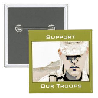 Apoye nuestro botón de las tropas pin cuadrado