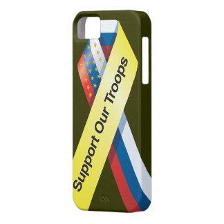 Apoye nuestro caso del iphone de las tropas funda para iPhone 5 barely there