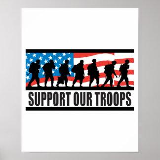 Apoye nuestro diseño de la bandera de las tropas póster