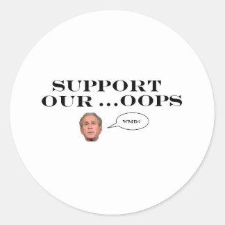 apoye nuestro… oops etiqueta redonda