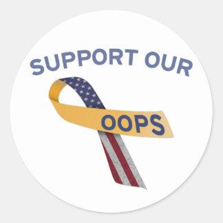 Apoye nuestro Oops Pegatina Redonda