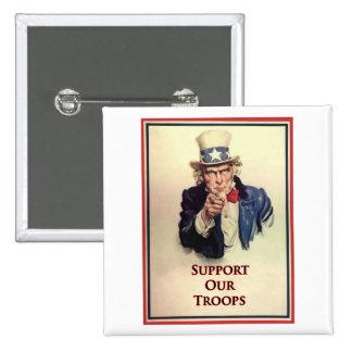 Apoye nuestro poster del tío Sam de las tropas Pins