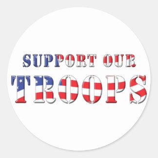 Apoye nuestros colores patrióticos de las tropas pegatinas redondas