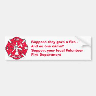 Apoye su cuerpo de bomberos voluntario local pegatina para auto