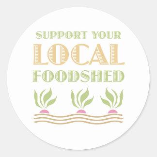 Apoye su Foodshed local Etiquetas Redondas
