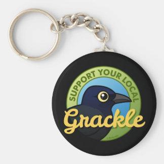 Apoye su Grackle local Llavero Redondo Tipo Pin