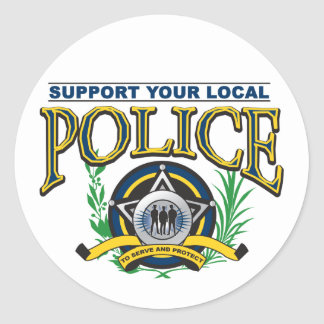 Apoye su policía local etiqueta redonda