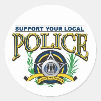 Apoye su policía local pegatina redonda