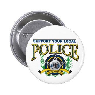 Apoye su policía local pin redondo de 2 pulgadas