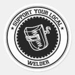 Apoye su soldador local etiqueta redonda
