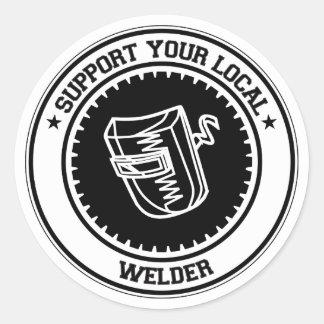 Apoye su soldador local pegatina redonda