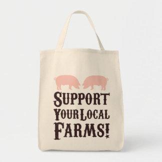 ¡Apoye sus granjas locales! Tote orgánico Bolsa Tela Para La Compra