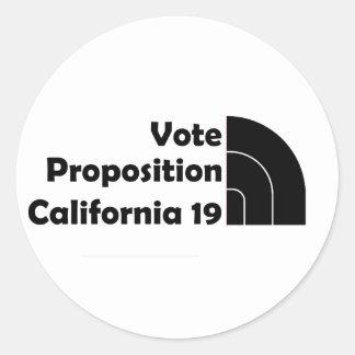 Apoyo 19 del voto pegatina redonda