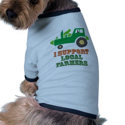 Apoyo a granjeros locales camiseta con mangas para perro
