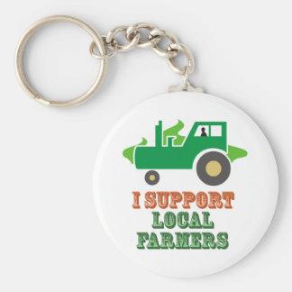 Apoyo a granjeros locales llavero redondo tipo pin