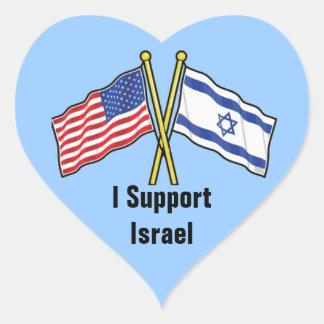 Apoyo a los pegatinas de Israel en forma del Calcomanía De Corazón