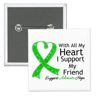 Apoyo a mi amigo con todo mi corazón pin cuadrada 5 cm