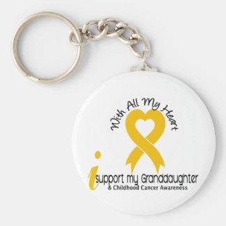 Apoyo a mi cáncer de la niñez de la nieta llavero redondo tipo pin
