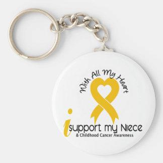 Apoyo a mi cáncer de la niñez de la sobrina llavero redondo tipo pin