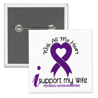 Apoyo a mi cáncer pancreático de la esposa pin cuadrado