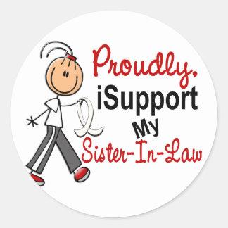 Apoyo a mi cuñada SFT (cáncer del hueso/de pulmón Pegatinas Redondas