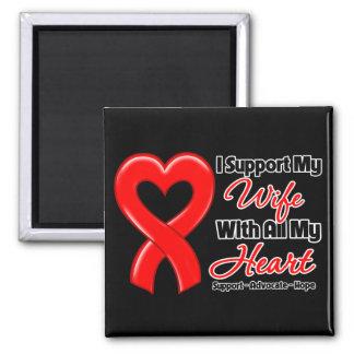 Apoyo a mi esposa con todo mi corazón imán cuadrado