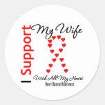 Apoyo a mi esposa - enfermedad cardíaca etiquetas redondas