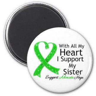 Apoyo a mi hermana todo mi corazón imán redondo 5 cm
