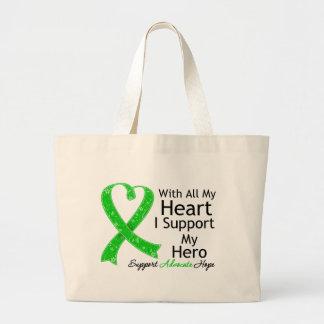 Apoyo a mi héroe con todo mi corazón (la cinta ver bolsa tela grande