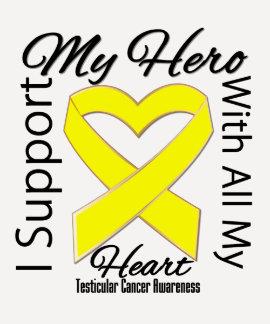 Apoyo a mi héroe - conciencia del cáncer testicula camisetas