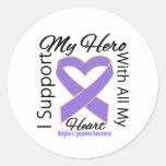 Apoyo a mi héroe - conciencia del linfoma de pegatinas redondas