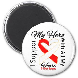 Apoyo a mi héroe - conciencia oral del cáncer iman de frigorífico