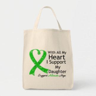 Apoyo a mi hija con todo mi corazón bolsa tela para la compra