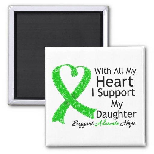 Apoyo a mi hija con todo mi corazón imán cuadrado