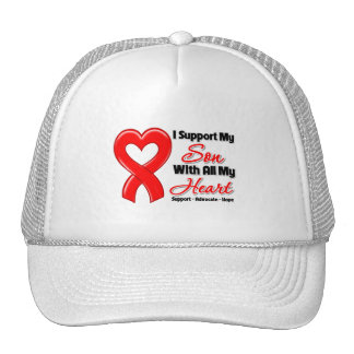 Apoyo a mi hijo con todo mi corazón gorras