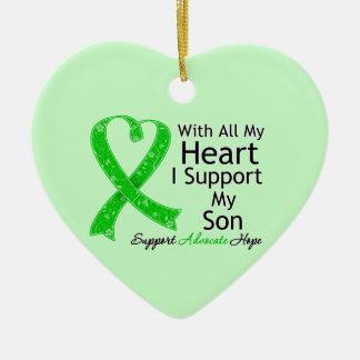 Apoyo a mi hijo todo mi corazón adorno de cerámica en forma de corazón