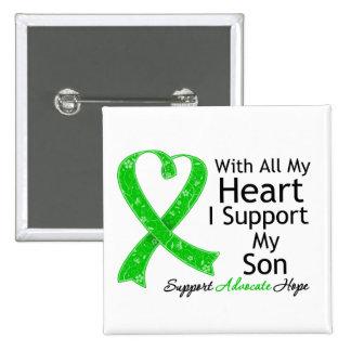 Apoyo a mi hijo todo mi corazón pin cuadrada 5 cm