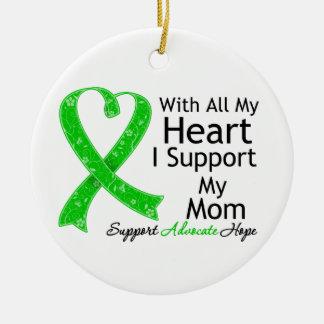 Apoyo a mi mamá con todo mi corazón adorno redondo de cerámica