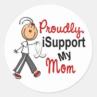 Apoyo a mi mamá SFT el cáncer del hueso de pulmón Pegatinas Redondas