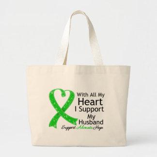 Apoyo a mi marido con todo mi corazón bolsa tela grande