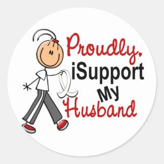 Apoyo a mi marido SFT (el cáncer del hueso/de Pegatina Redonda
