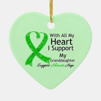 Apoyo a mi nieta con todo mi corazón adorno de cerámica en forma de corazón