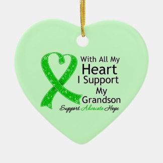 Apoyo a mi nieto con todo mi corazón adorno de cerámica en forma de corazón