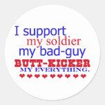 Apoyo a mi soldado, pegatina redonda