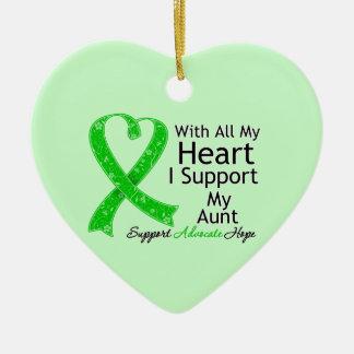 Apoyo a mi tía With All My Heart Adorno De Cerámica En Forma De Corazón